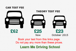 Theory test costs