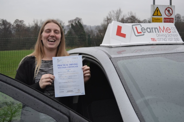 Driving lessons Paisley test pass for Claire from Glenburn